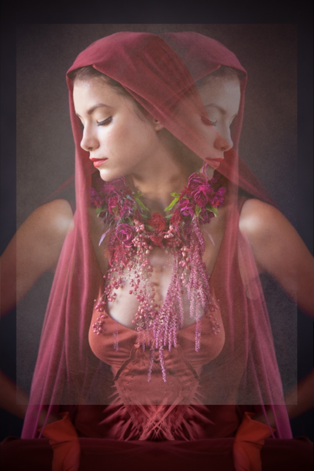Draped in rubies and rose quartz